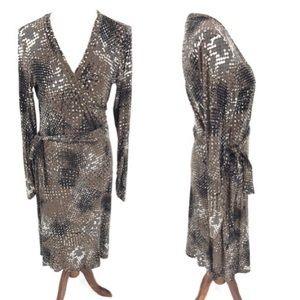 Cabi Dappled Dots Faux Wrap Dress Brown #658